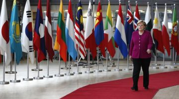 Merkel attends trade summit