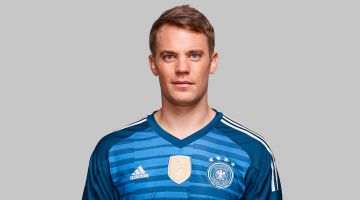 Manuel Neuer is playing in goal for Germany.