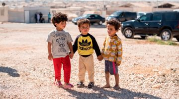 Children in a refugee camp