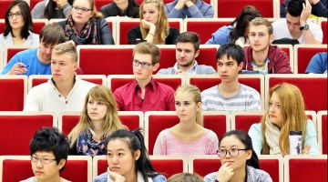 Students from around the globe in the lecture hall.