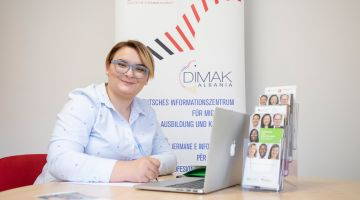 Dorisa Lala, a counsellor at DIMAK in Albania
