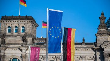 The European flag flies in front of Germany's parliament, the Bundestag.
