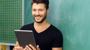Teaching in the modern world: tablets rather than blackboards.