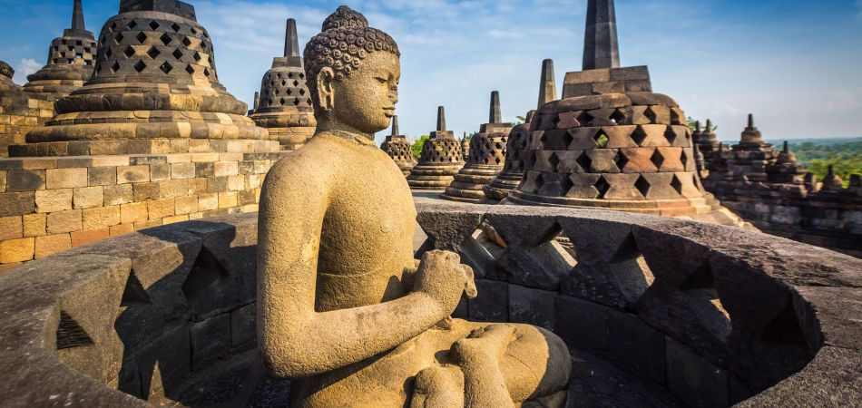 the indonesian temple of borobudur restored with german help