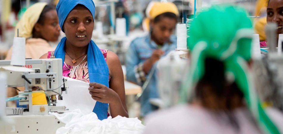 Workers in a modern textiles factory in Addis Ababa