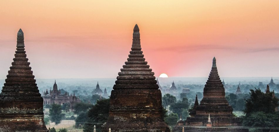 The royal city of Bagan, Myanmar, at sunset