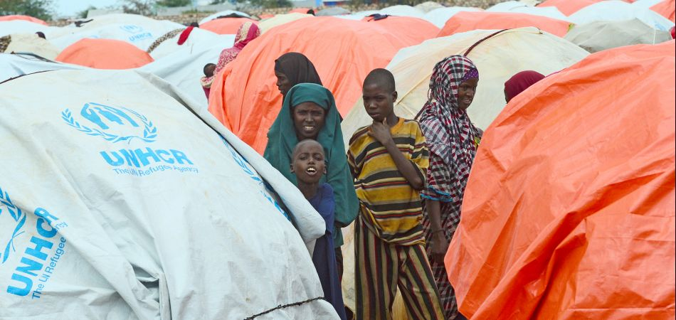 People living in a refugee camp in Somalia