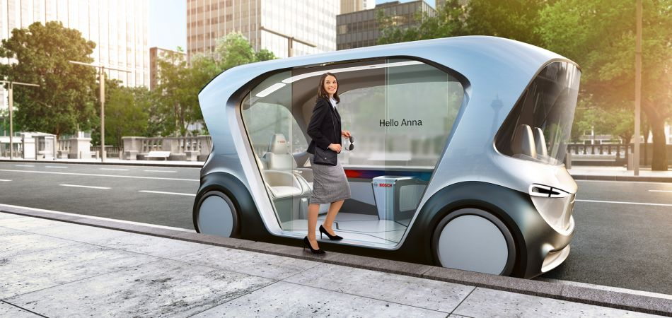 Concept for a driverless shuttle by Bosch