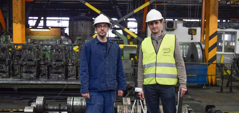 Tamás Angeli (left) and Dániel Szalai at the steelworks