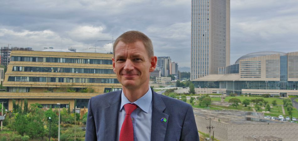 Thorsten Clausing in Addis Ababa: in the background the AU buildings