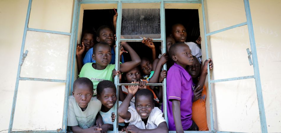Refugee children from South Sudan in a refugee settlement in Uganda.