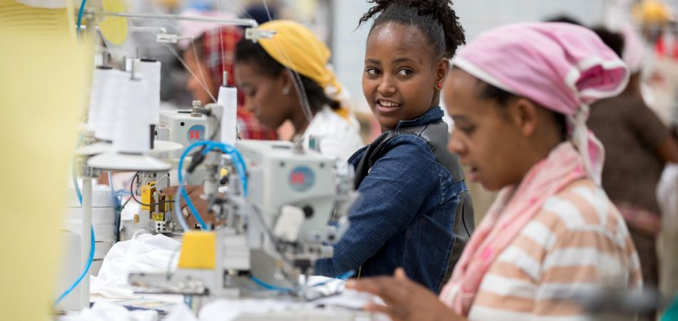 Female workers in a modern textile factory in Addis Ababa