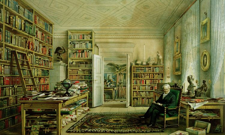 Alexander von Humboldt in his private library in Berlin
