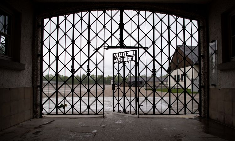Historical entrance gate of the Dachau Concentration Camp