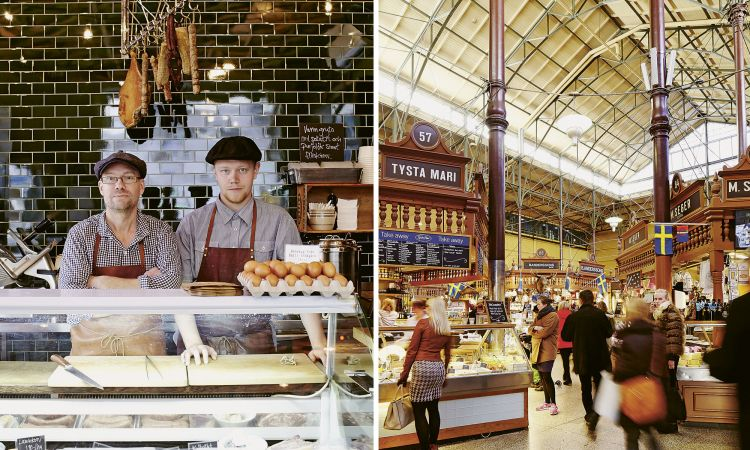 The path to Europe's heart…: Swedish specialities in the butcher's shop of starred chef Magnus Ek and culinary culture in Östermalms Saluhall, an 1880s market hall in Stockholm