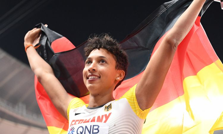 Malaika Mihambo is in second place among the German women's long-jump records. First place is held by world champion Heike Drechsler with 7.48 m.