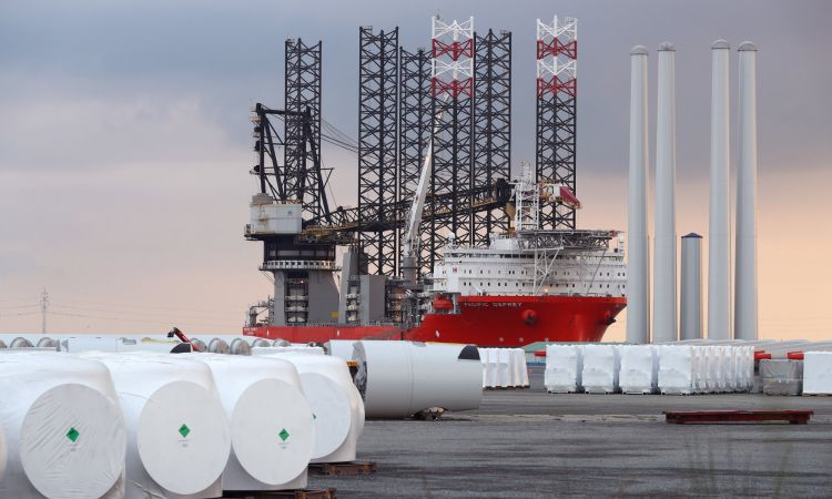 Special ship for building offshore wind farms in the Port of Esbjerg