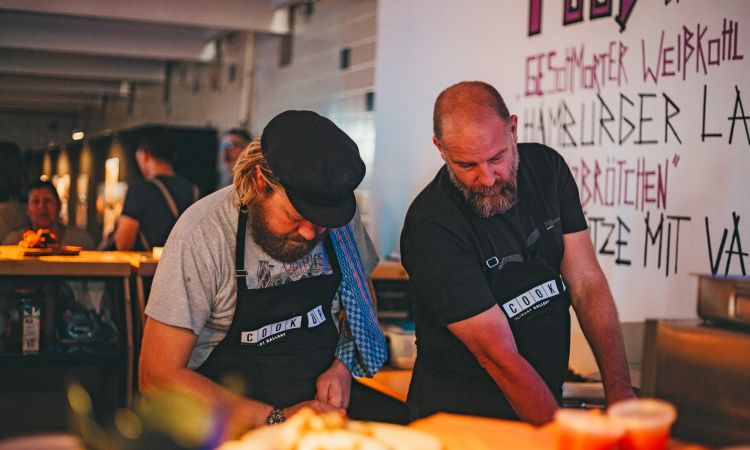 The cook-up restaurant guesting in London: There were five different dishes to be had for free, including Labskaus, a traditional Hamburg dish made with minced beef and beetroot.