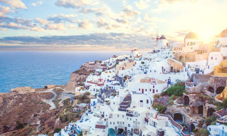 Most buildings on the Greek island of Santorini are painted white.